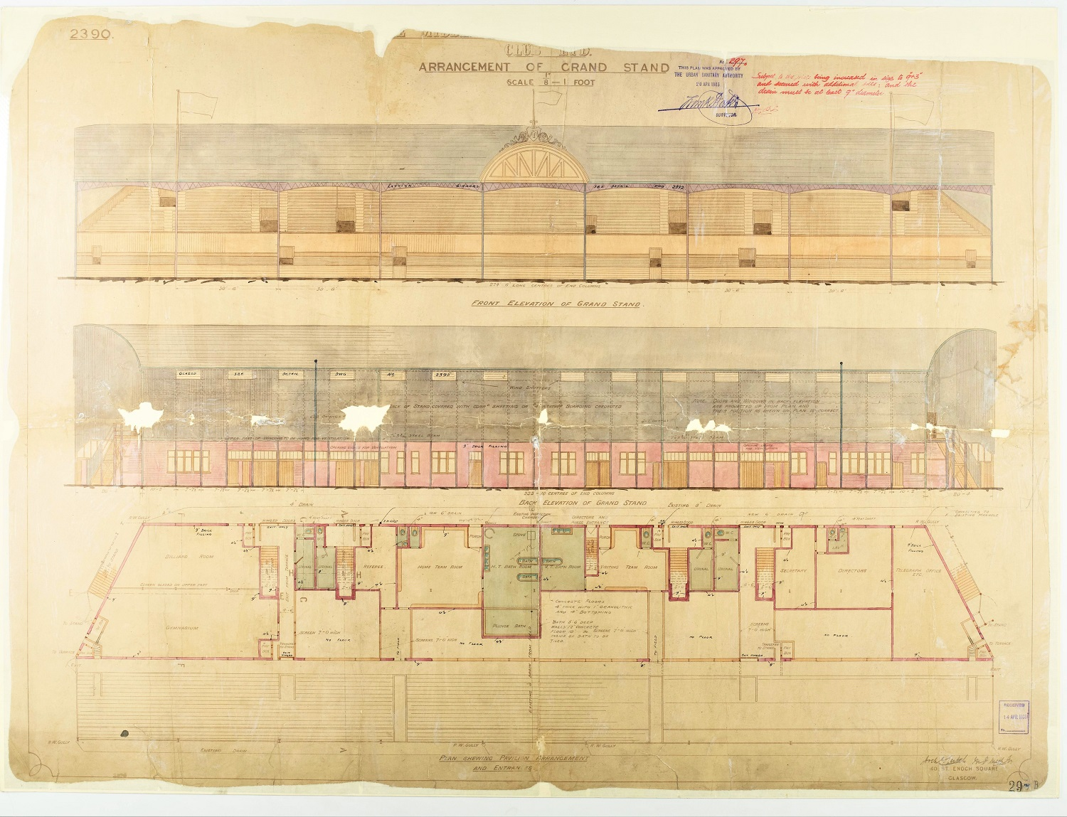 A plan of the Ayresome Park grandstand - Archibald Leitch (Teesside Archives)