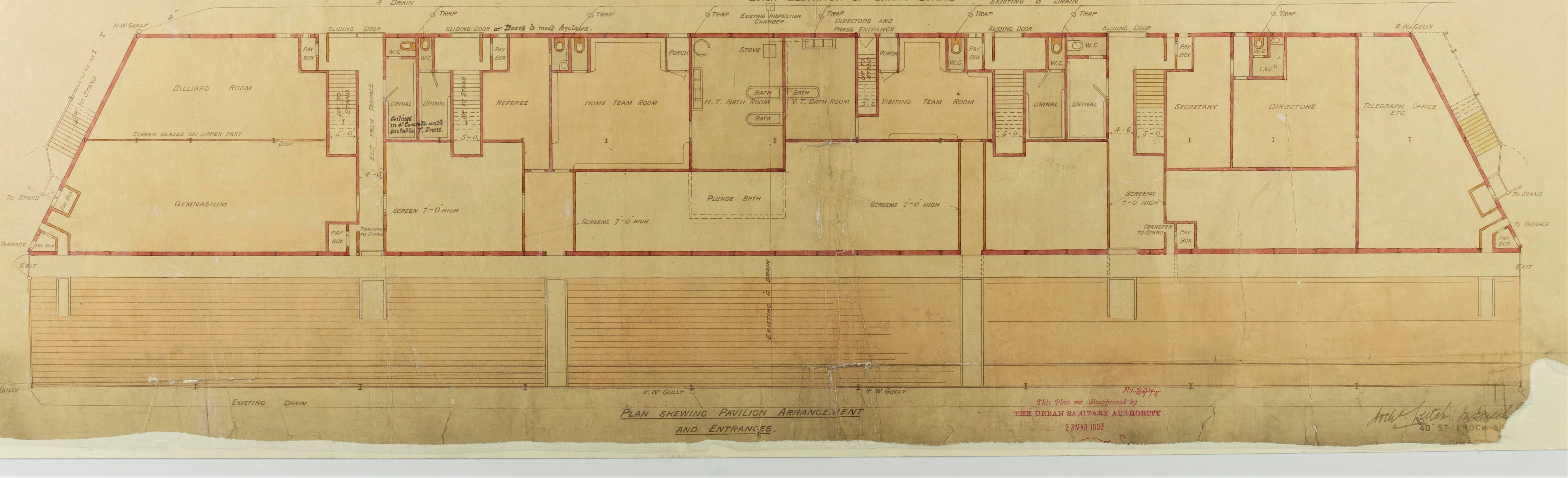 The plan of the new Grand Stand at Ayresome Park details facilities including changing rooms plunge baths referees room and visitor facilities